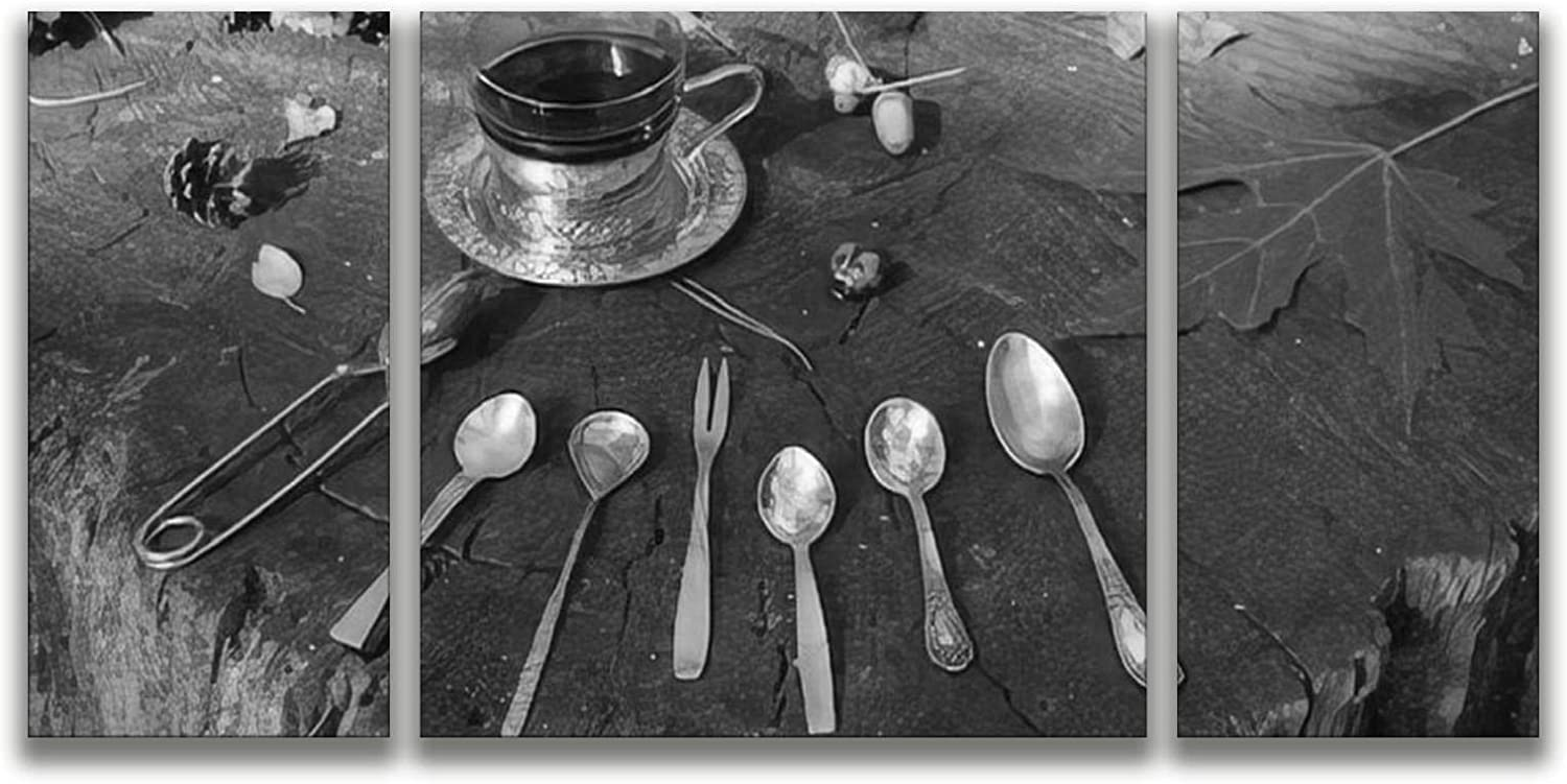 A variety of cutlery old silver and gilded spoons a fork and tongs Wall Art Home Decor Black and White wall art Print On Canvas Art Work Stretched & Framed Hanging Posters for Living Room 3 Panel