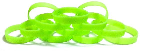 TheAwristocrat 1docena de abono en Gotas en Blanco Caucho de Silicona Pulseras Pulseras-Seleccione de una Gran Variedad de Colores, Verde Claro Brilla en la Oscuridad