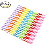Vicloon 175pcs Paper Straws, Color Decoration Drinking Straws for Birthday, Wedding, Christmas, Celebration Party Favor Supplies, 7 Colors Rainbow
