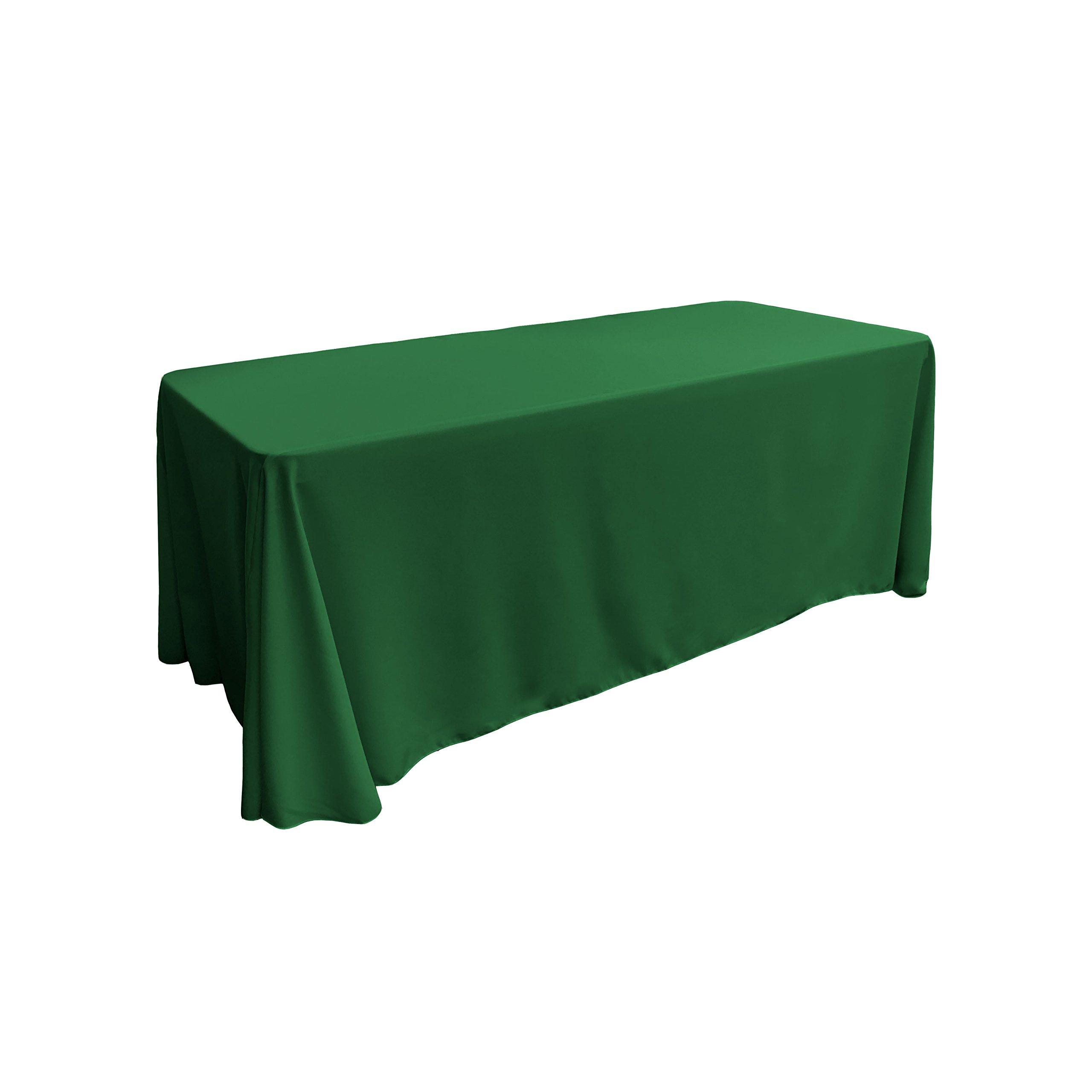 LA Linen Polyester Poplin Rectangular Tablecloth, 90 by 156-Inch, Green Emerald