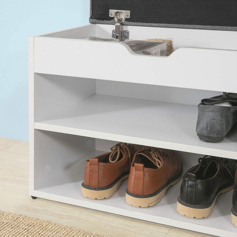 SoBuy FSR25-HG Banco Zapatero Armario zapatero,banco,estanter/ía para zapatos,blanco,60 x 30 x 43 cm,ES