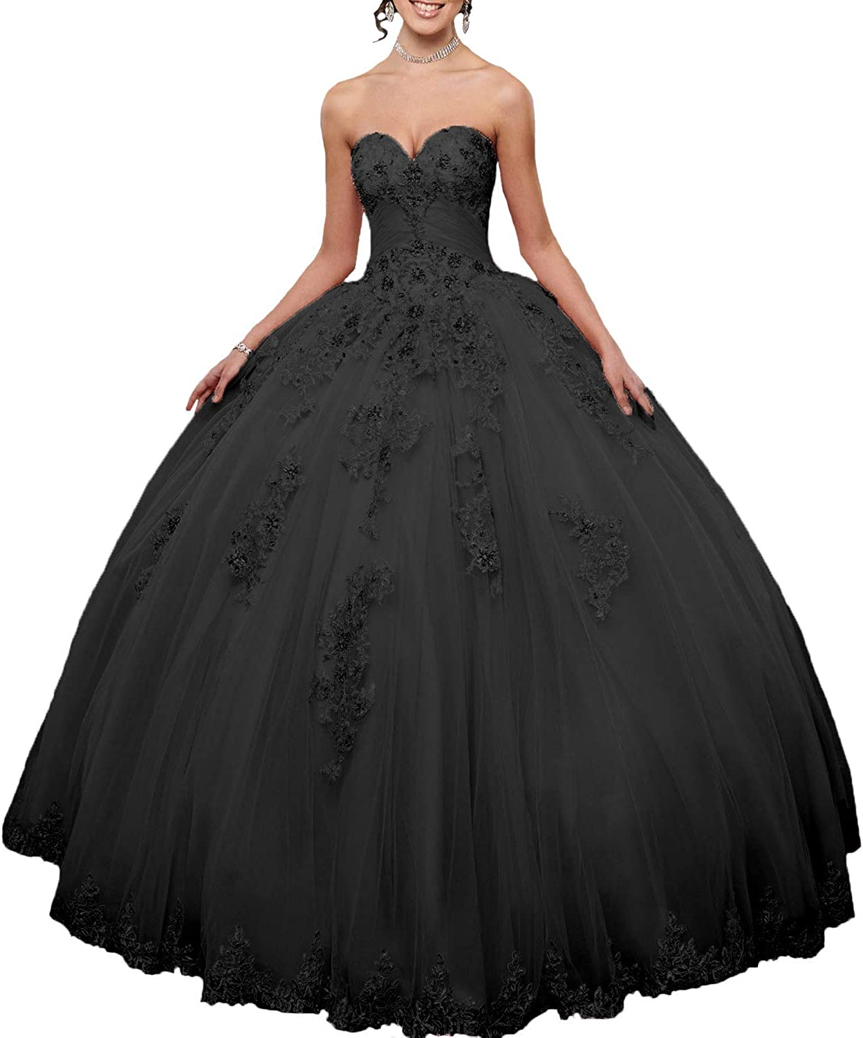 Amazon Com Fair Lady Women S Pink Ball Gown Quinceanera Dresses 2020 Sweetheart Appliques Tulle Princess Prom Party Gowns Clothing
