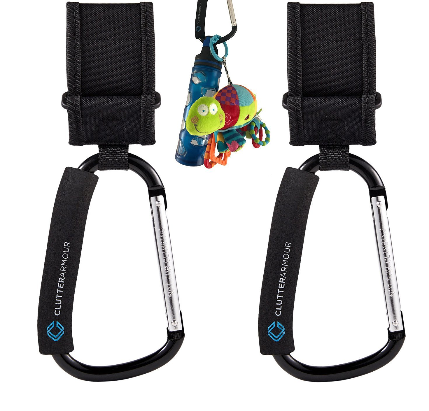 Stroller Hooks - Handy 2/Set XL Organizer for Strollers - Velcro Straps for Universal Fit - Heavy Duty Storage Hook for Shopping Bags, Diaper Bag, Purse, Kids Backpack, Toys - Multi Purpose Baby Hook