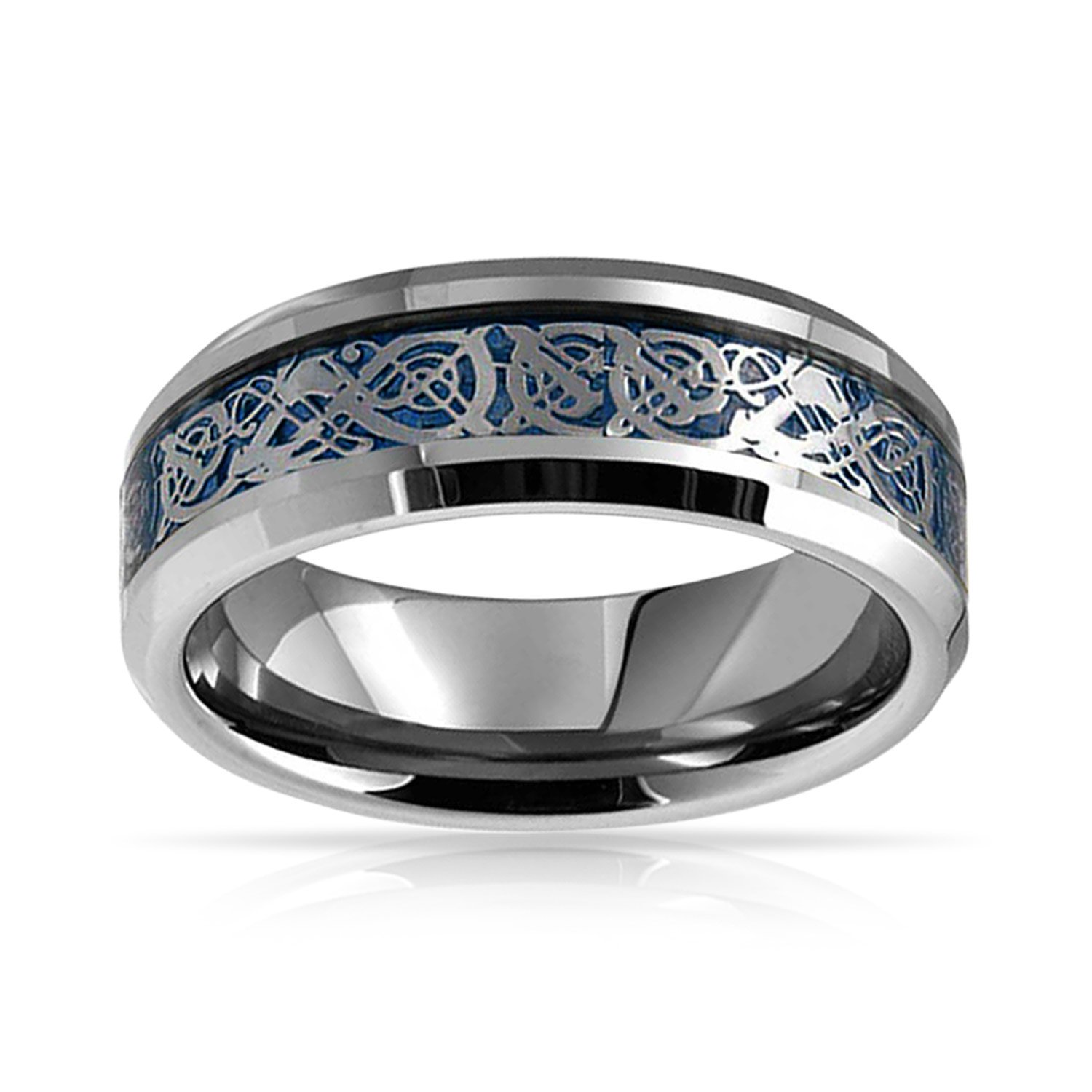 Bling Jewelry Blue Silver Tone Celtic Knot Dragon Inlay Couples Titanium Wedding Band Rings/for/Men for Women Comfort Fit 8MM