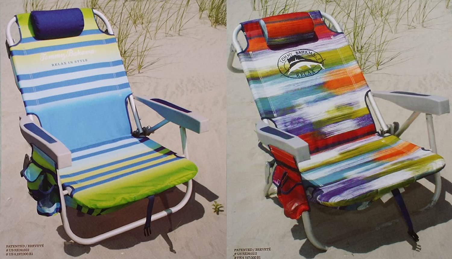 Tommy Bahama 2 2015 Backpack Cooler Chairs with Storage Pouch and Towel Bar 1 Green Striped and 1 Multicolor