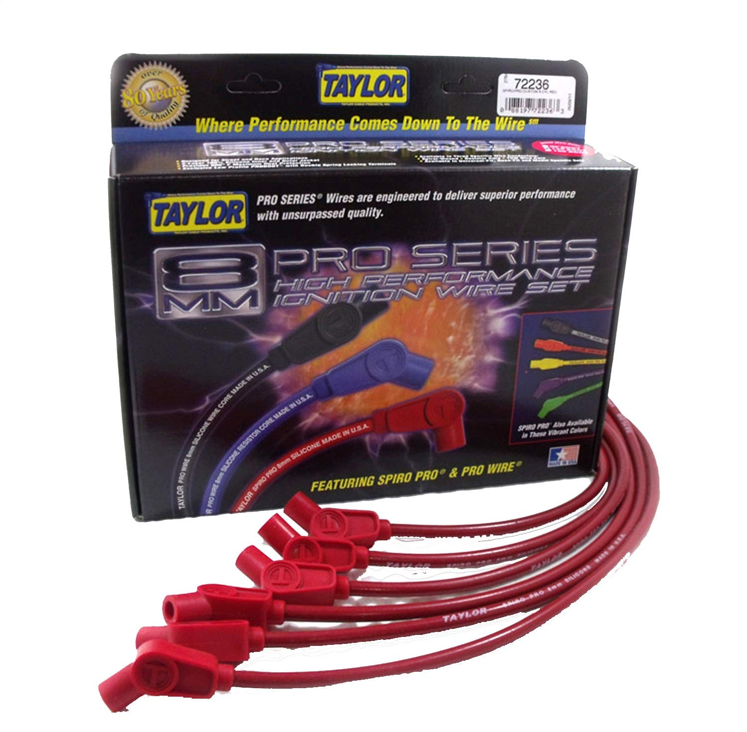 Taylor Cable 74232 Spiro-Pro Red Spark Plug Wire Set