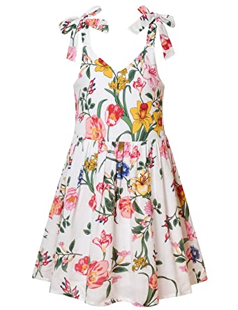 c3c234433 Amazon.com  Jxstar Girls Floral Dresses Summer Adjustable Bowknot ...
