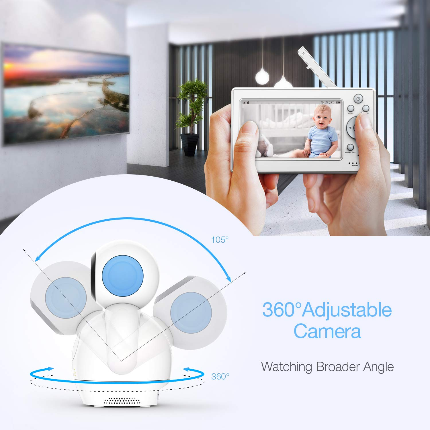Blue Night Vision Lullabies and Two-Way Audio Upgraded Version HOMIEE 360/° Digital Baby Camera Monitor Rechargeable Monitor Video Baby Monitor Sound and Temperature Alarm 5 LCD Display /& 1000 Feet 2.4G Wireless Connection