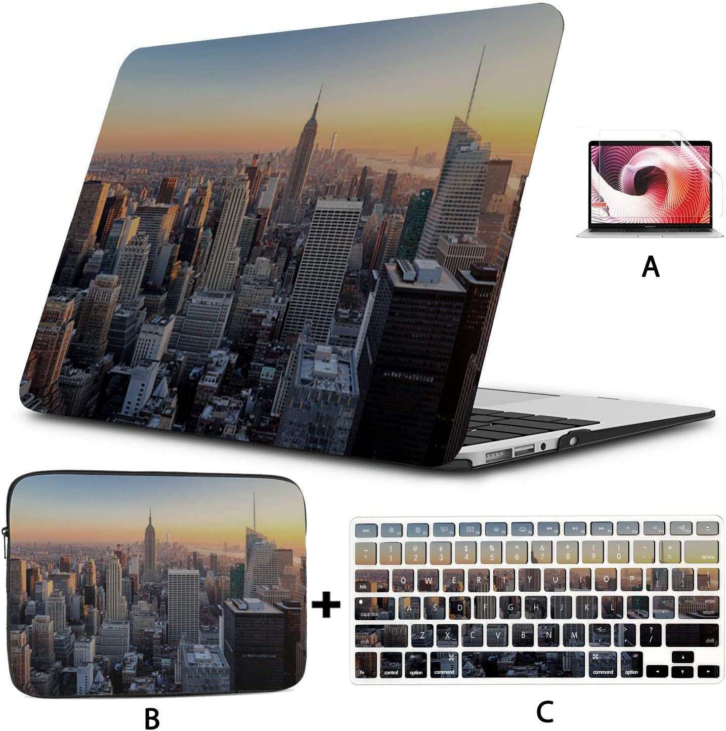 "MacBook Air Case 2018 New York City Skyline Over River Cover for MacBook Air Hard Shell Mac Air 11""/13"" Pro 13""/15""/16"" with Notebook Sleeve Bag for MacBook 2008-2020 Version"