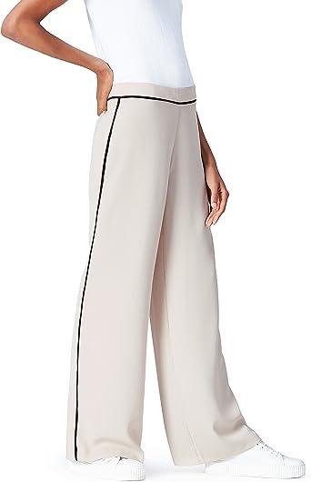 Find Side Stripe Wide Leg Pantalones Para Mujer Beige Stone Black 46 Talla Del Fabricante Xx Large Amazon Es Ropa Y Accesorios