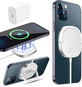 KKM Magnetic Wireless Charger for iPhone12, 15W Qi Certified Fast Wireless Charging Pad Compatible with Magsafe Charger for iPhone12 Pro/12 Pro Max/12 Mini/Airpods/iWatch [USB C PD Adapter Included]