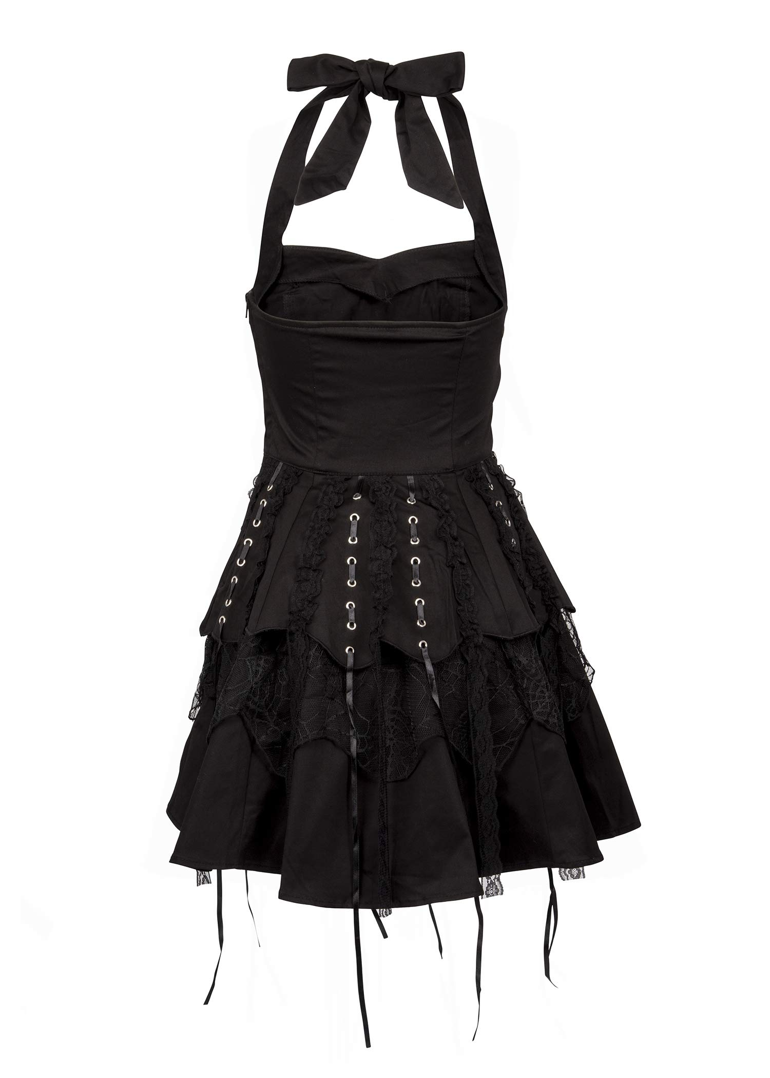 Glam and Gloria Womens Black Gothic Steampunk Pirate Mini Dress with Lacing 4