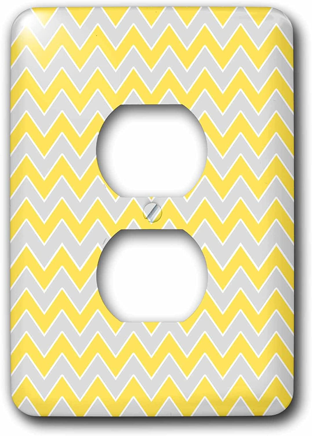 3dRose lsp/_110749/_6 Chevron Pattern Hot Pink And White Zigzag 2 Plug Outlet Cover