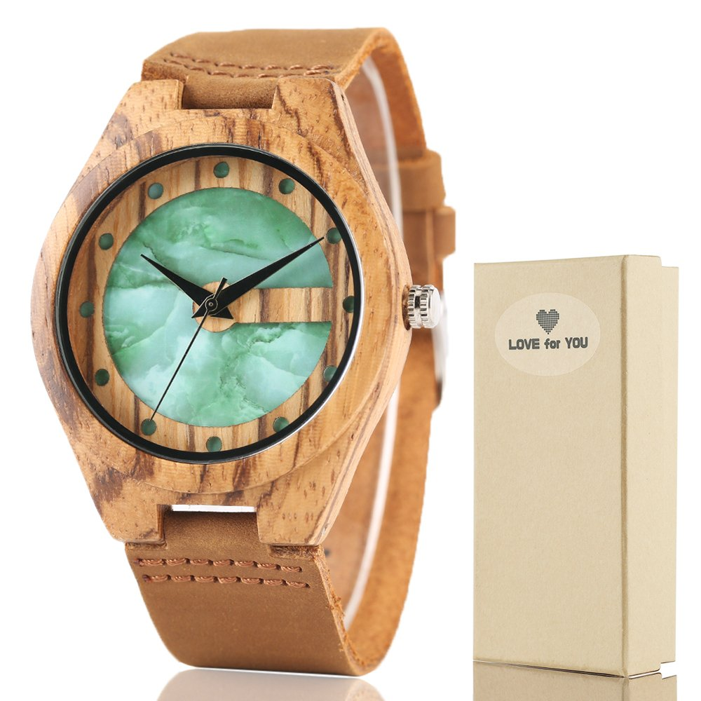Wooden Watch for Men Brown Genuine Leather Band Quartz Movement Wood Clock Gift