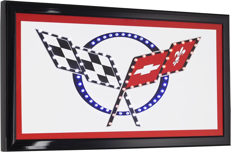 """CORVETTE RACING FLAG 30/""""L METAL SIGN WALL PLAQUE GARAGE MAN CAVE 69 XXL"""