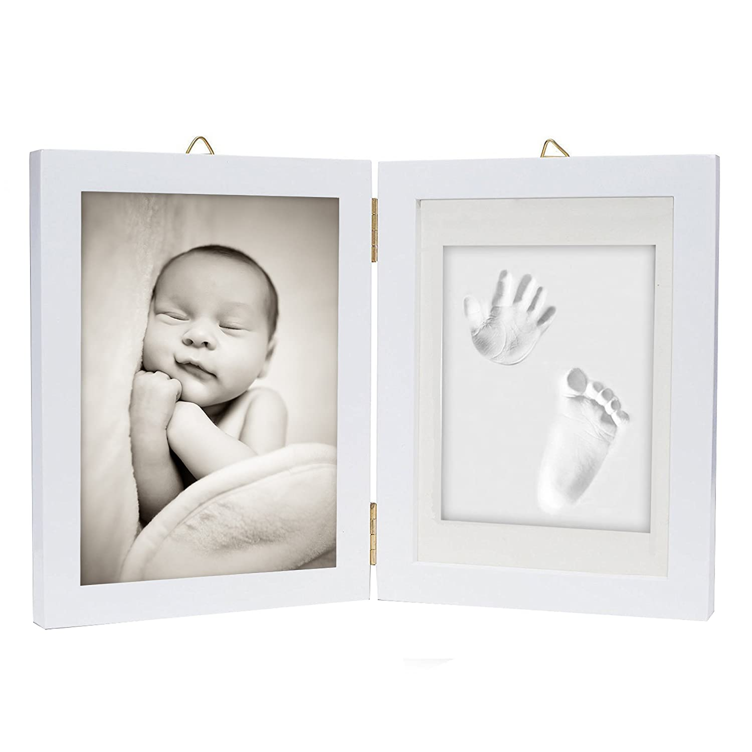 Baby Hand & Foot Print Frame Kit – Soft, Safe imprint Clay for moulding with a Premium Wood frame and High Quality Acrylic Glass Cover - Ultimate newborn baby gift chuckle