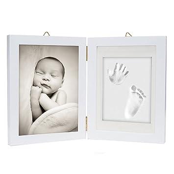 Ton Lufttrocknend baby handabdruck fußabdruck im bilderrahmen 3d ton weiß