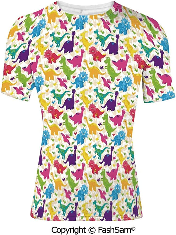 Fashion Printed T-Shirts Cute Dinosaurs Jungle Numeral Wavy Line Prehistoric Fau