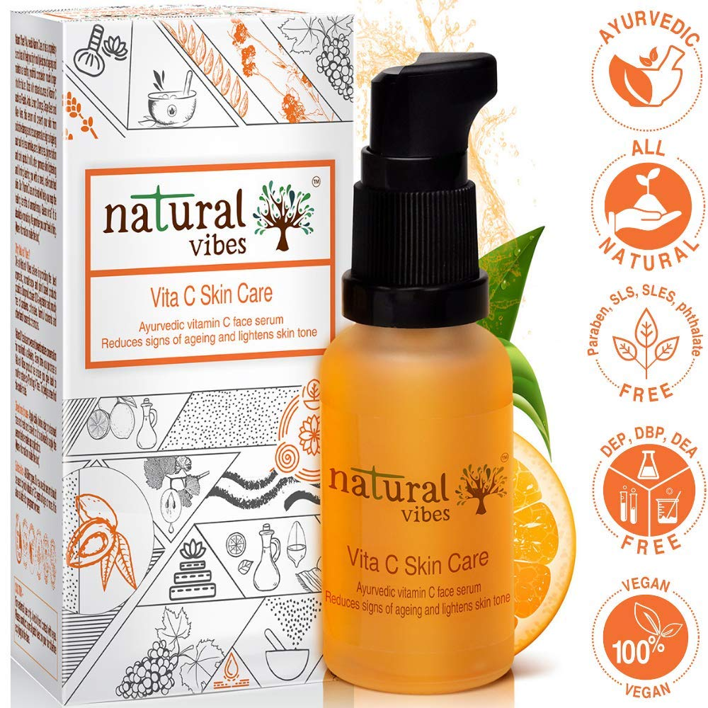 Natural Vibes ~ Ayurvedic Vitamin C Skin Care Serum 30 ml ~ Reduces signs  of ageing and lightens skin tone