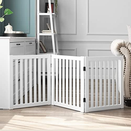 WELLAND Wooden Freestanding Pet Gate, 24 Inch 3 Panel Step Over Fence, Expands Up to 60 Wide, Foldable Indoor Dog Gate Puppy Safety Fence, White
