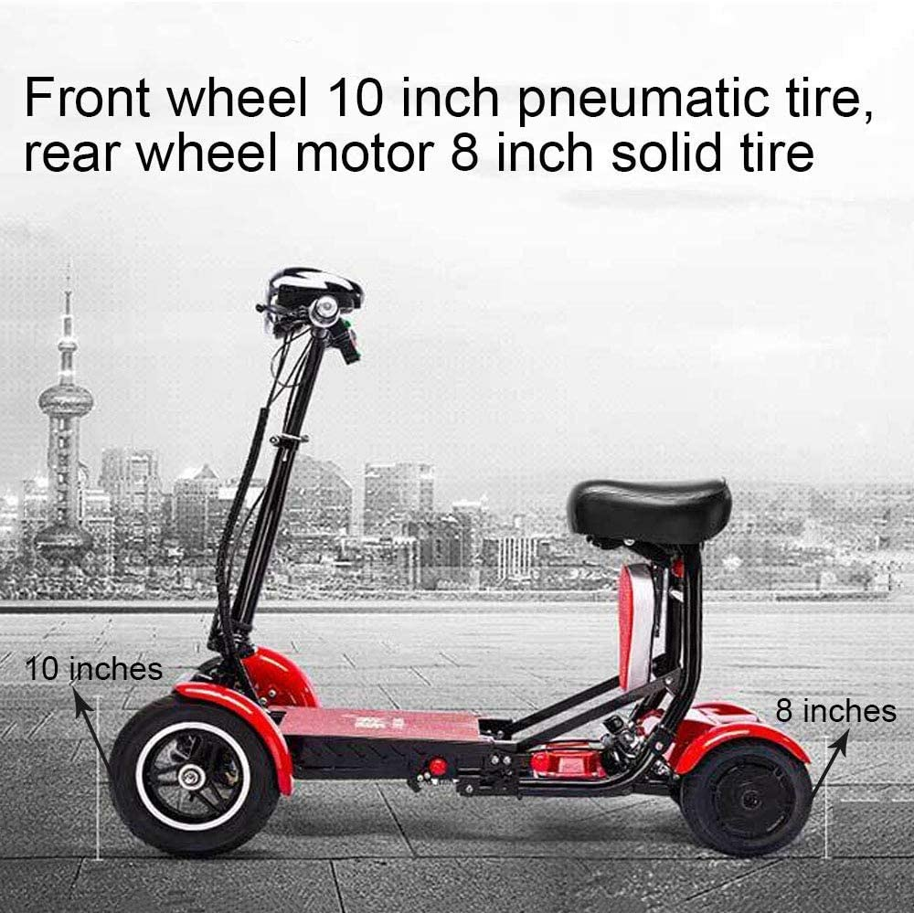 Foldable Lightweight Power Mobility Scooter Wheelchair Multi Terrain Easy Travel Electric Mobility Scooter for Adults with Child Seat (Red): Health & Personal Care