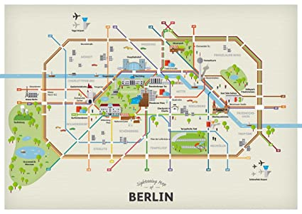 Amazon.com: Laminated 33x24 Poster: Sightseeing Map of ...