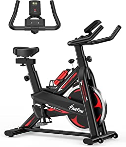 FaaFuu Exercise Bike - Indoor Cycling Bike for Home Gym with Comfortable Seat Cushion,Tablet Holder and LCD Monitor,Silent Belt Drive, Flywheel Smooth Quiet