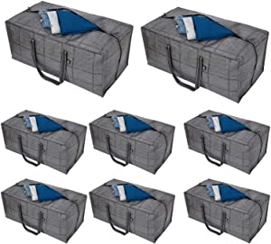 VENO Heavy Duty Extra Large Storage Bag, Moving Bag Tote (8-Pack), Clothes Organizer, For Blanket, Comforter, Bedroom closet, Dorm Room Essentials, Moving Supplies, Clothes Storage, Water Resistant, Recycled Materials