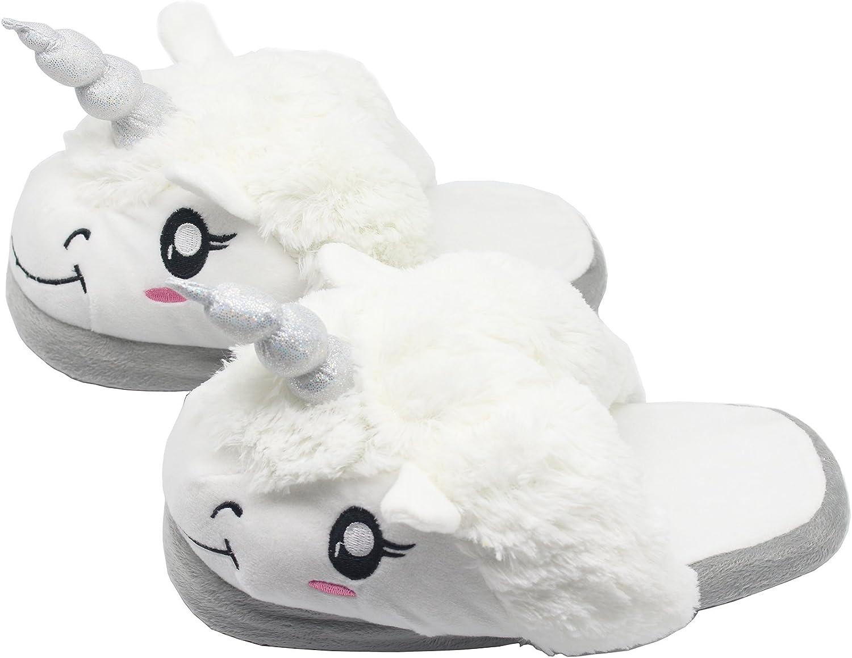 FRALOSHA Unicorn Slippers Women Indoor Animal Shoes Memory Foam Plush Bedroom House Cute Fluffy Girls Slipper