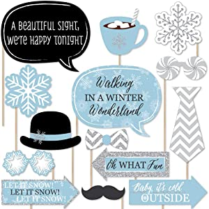 Big Dot of Happiness Winter Wonderland - Snowflake Holiday Party and Winter Wedding Photo Booth Props Kit - 20 Count