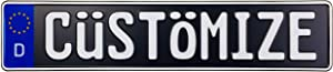 Custom Black German License Plate (Plate with White Text)