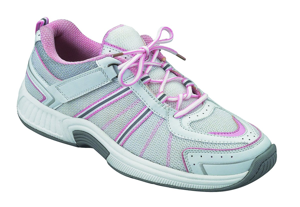 Orthofeet 916 Women's Comfort Diabetic Extra Depth Sneaker Shoe Leather-and-Mesh Lace - White and Pink -9.0 XX-Wide (4E) White/Pink Lace US Woman by Orthofeet (Image #1)