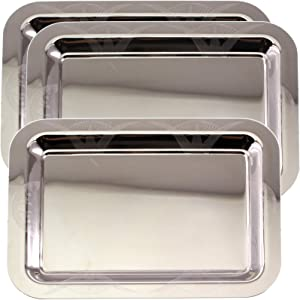 Maro Megastore (Pack of 3) 14.2 Inch x 10.2 Inch Oblong Chrome Plated Mirror Serving Tray Stylish Design Floral Engraved Edge Decorative Party Birthday Wedding Dessert Buffet Wine Platter Plate CC-741