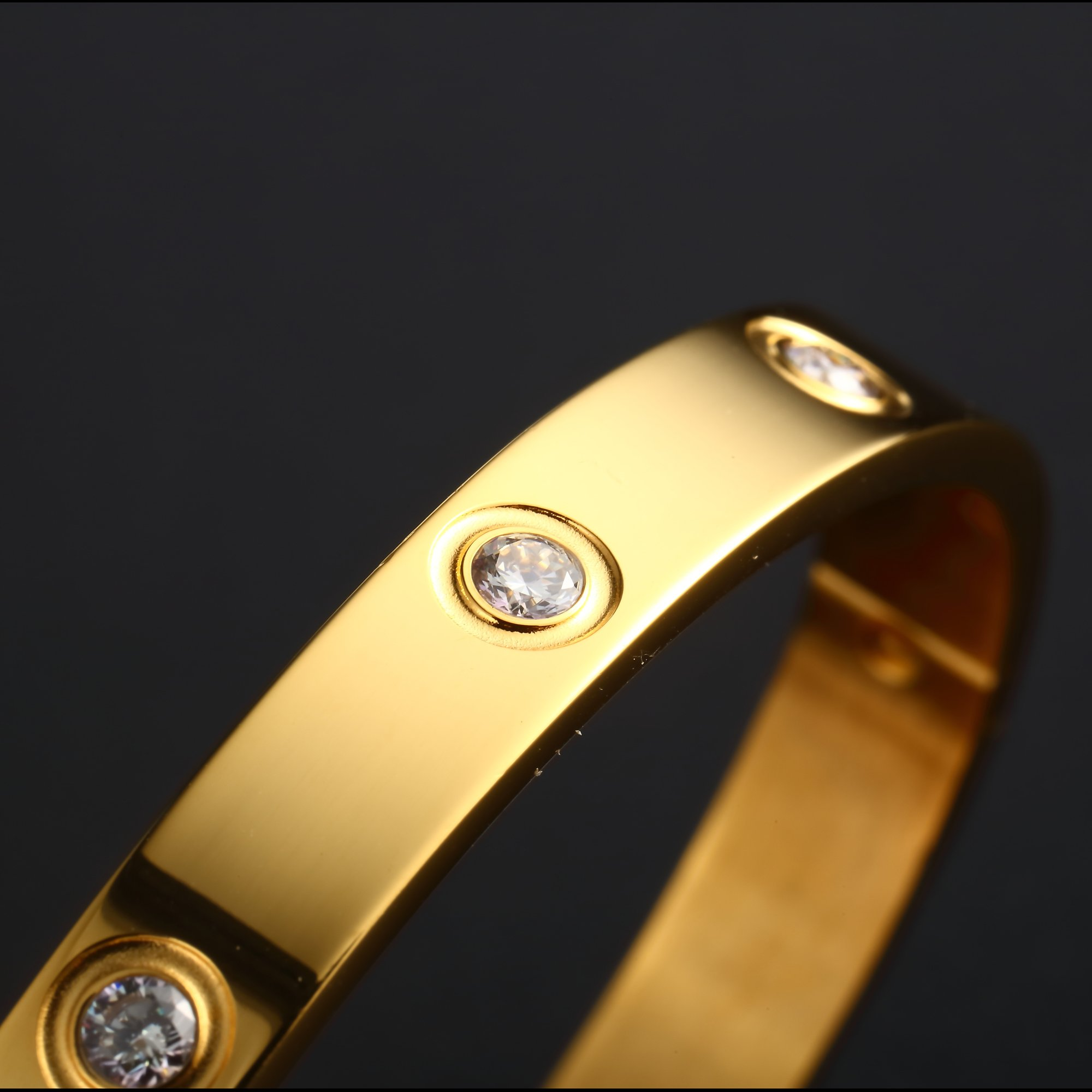 MVCOLEDY Jewelry 18 K Gold Bangle Bracelet Set in Stone Hinged Stainless Steel Crystal Bangle Women Small Size 6.7'' by MVCOLEDY (Image #4)