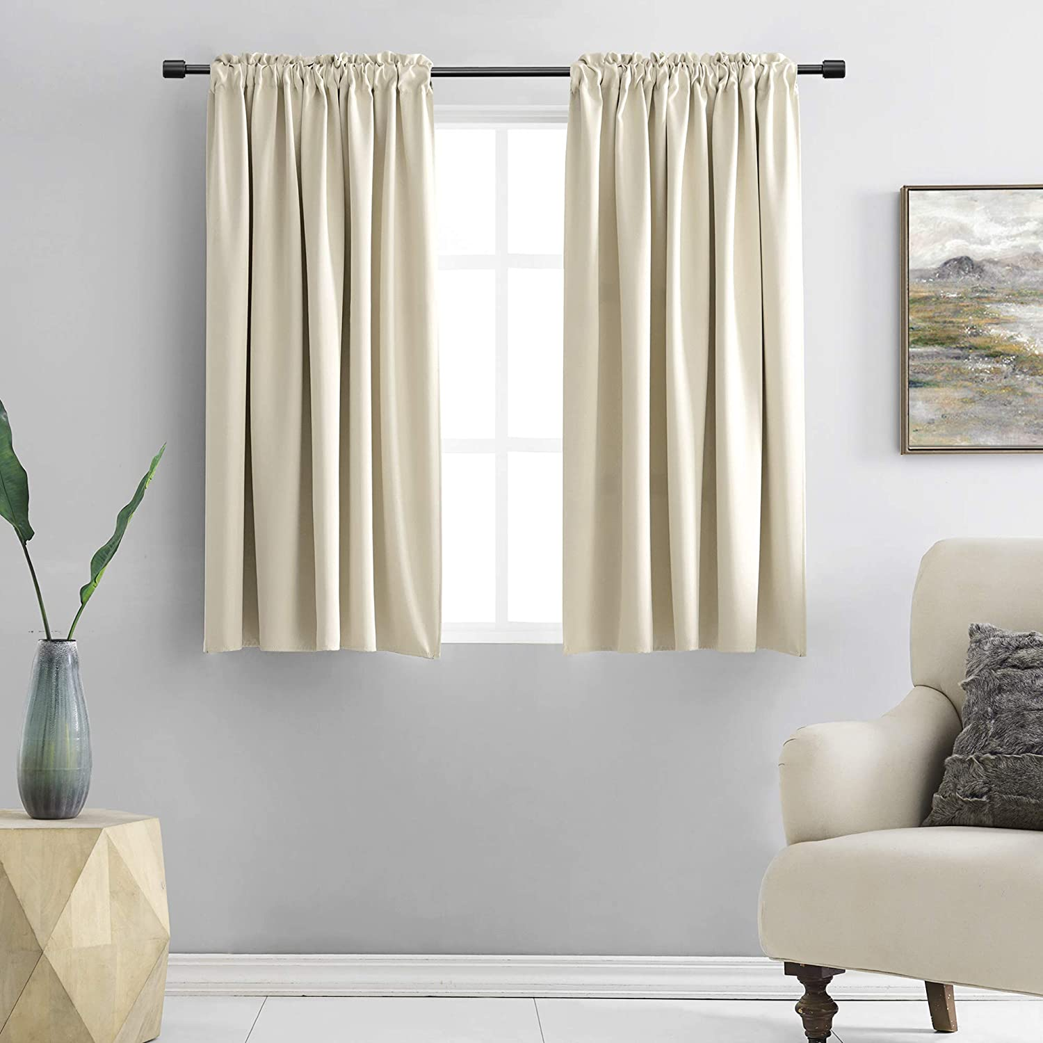 Amazon Com Donren Cream Beige Room Darkening Curtain Panels For Bedroom Thermal Insulated Rod Pocket Drapes For Living Room W 42 X L 45 Inch 2 Panels Home Kitchen