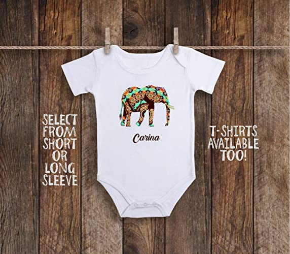 aaf140e2d Amazon.com: Elephant Little Peanut Custom Personalized Toddler Kids Tee  Shirt or Baby Bodysuit: Handmade