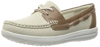 CLARKS Women's Jocolin Vista Boat Shoe, Off White Perforated Textile, 5  Medium US