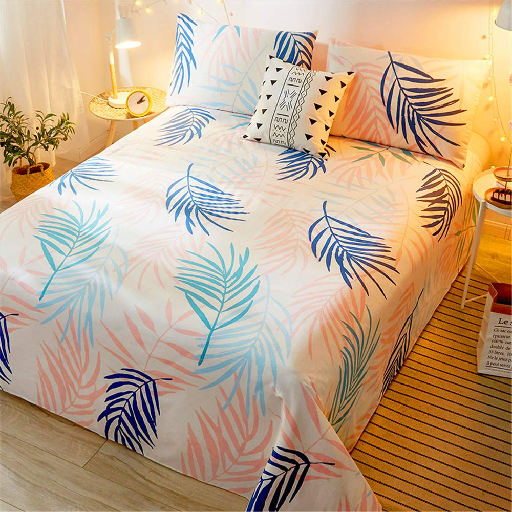 Cotton Sheets Single-Piece Student Dormitory Single Summer Cotton Quilt Single Double Nordic Girl ins Wind Soft and Comfortable Skin-Friendly Breathable Pink Flora 200230cm by iangbaoyo