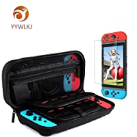 Nintendo Switch Case, YYWLKJ Protective Hard Shell Travel Storage Carrying Case Cover Box with 20 Game Cartridges for Nintendo Switch Console and Accessories - Black