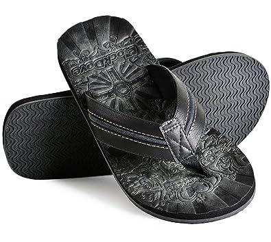 68788fbf7ab RockDove Men s Vieja Havana Faux Leather Flip Flop Black