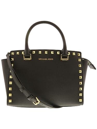 adcbff4c39ed MICHAEL Michael Kors Selma Stud Leather Satchel Shoulder Bag - Black   Handbags  Amazon.com
