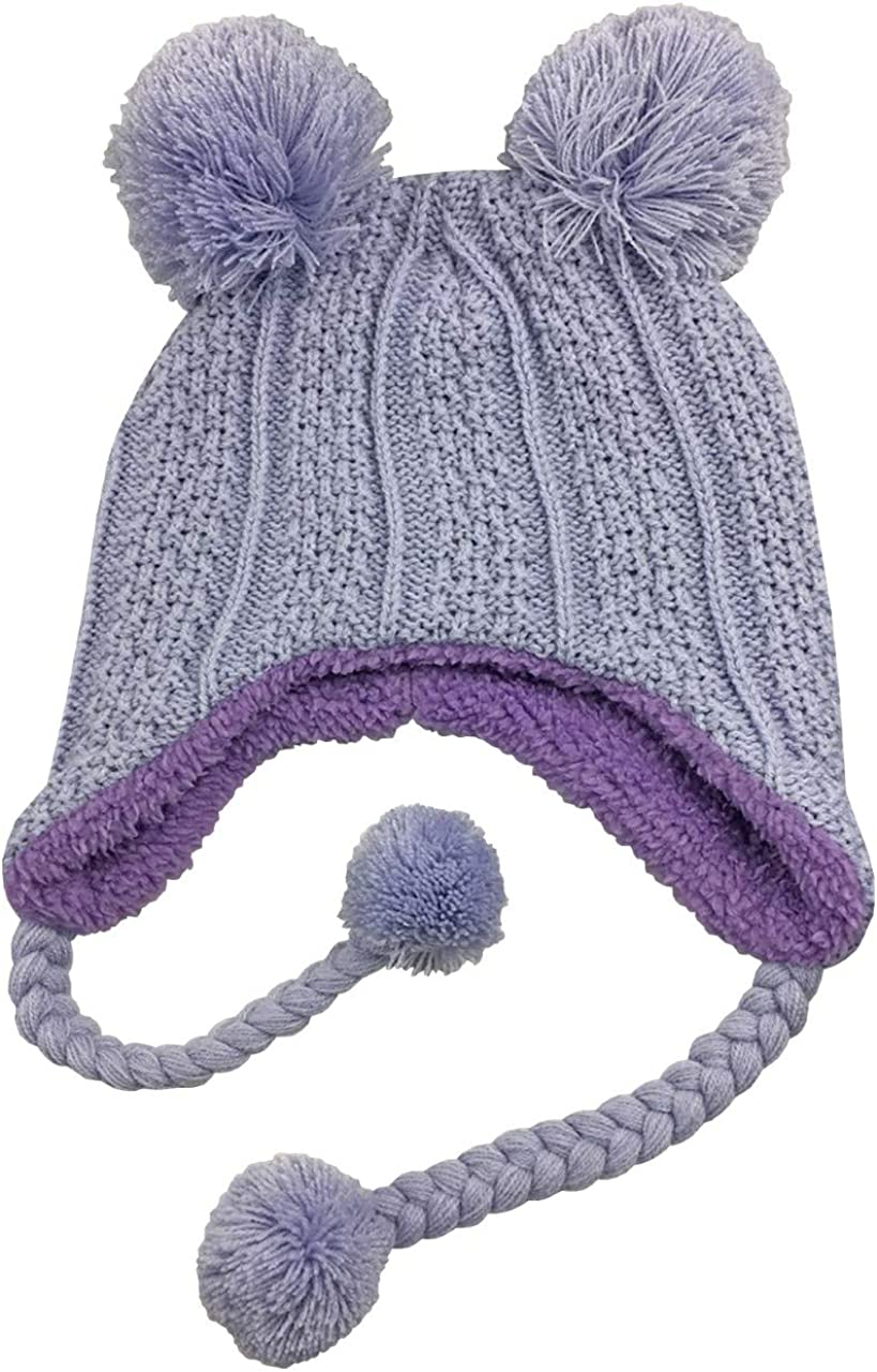 NIce Caps Little Girls and Baby Sherpa Lined Knitted 3PC Winter Set with Poms