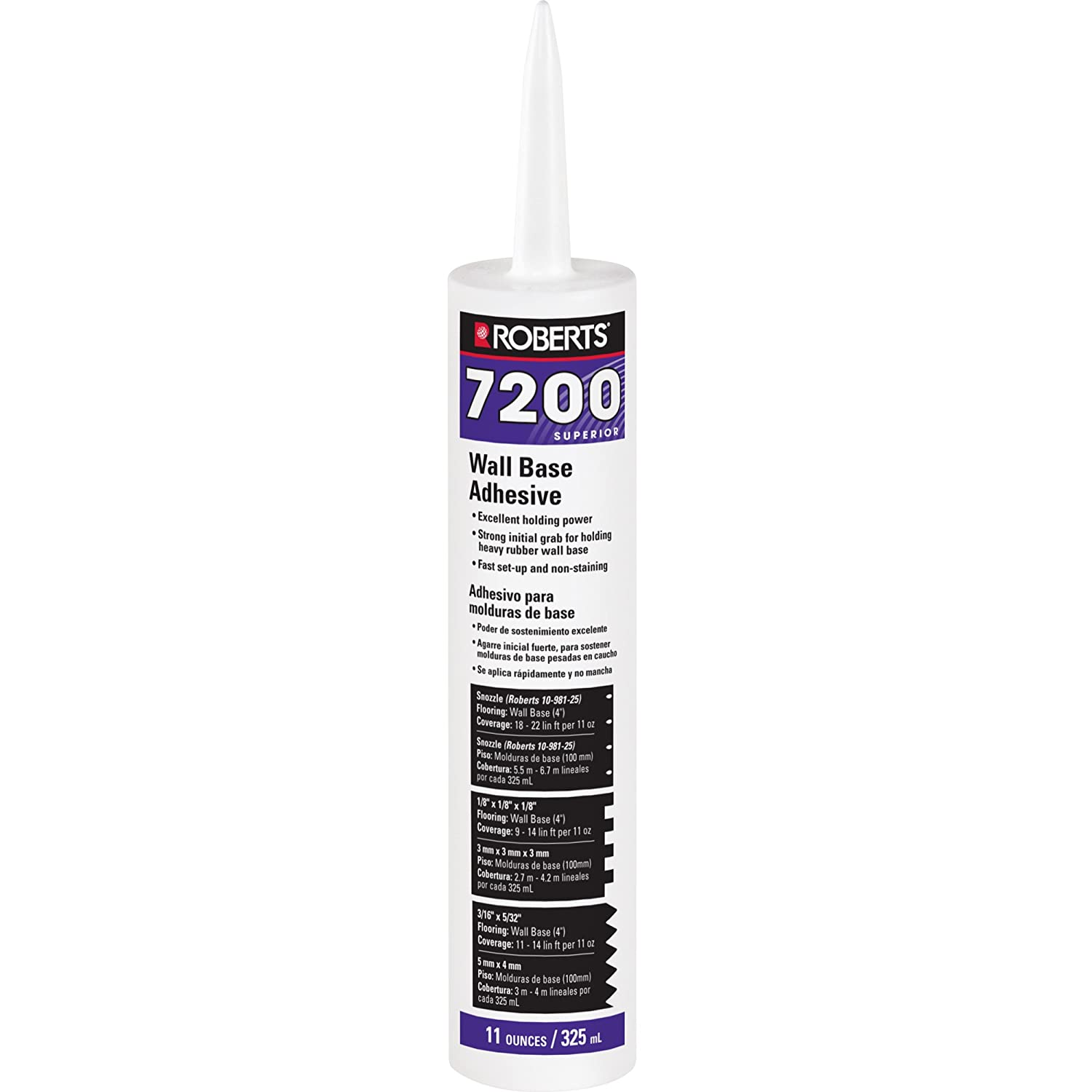 Amazon.com: Roberts 7200-11C Wall & Cove Adhering Vinyl, Rubber & Carpet Wall and Cove Base Adhesive 11oz: Home Improvement