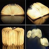 Gearmax® Lampe de Table LED Pliable en Bois en Forme de Livre Lamp(Blanc Chaud)