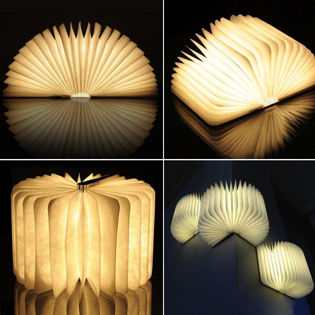 Gearmax holz dekorative led nachtlicht booklight amazon de elektronik