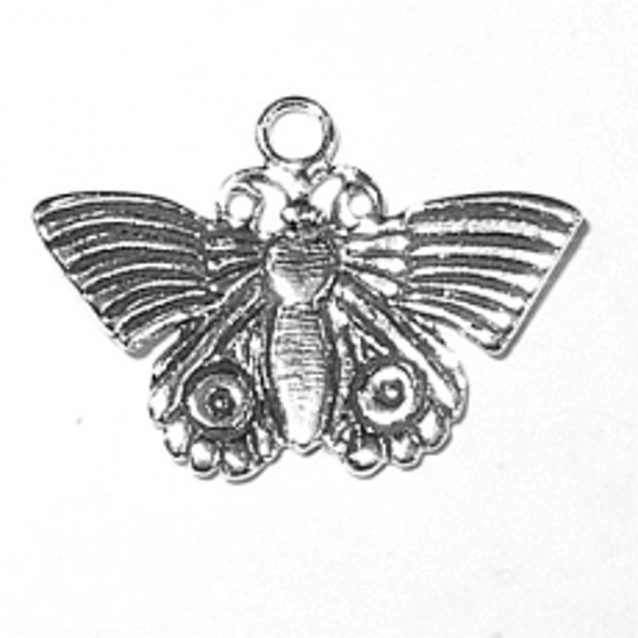 Sterling Silver 7 4.5mm Charm Bracelet With Attached Thin Butterfly With Curved Up Wings Charm
