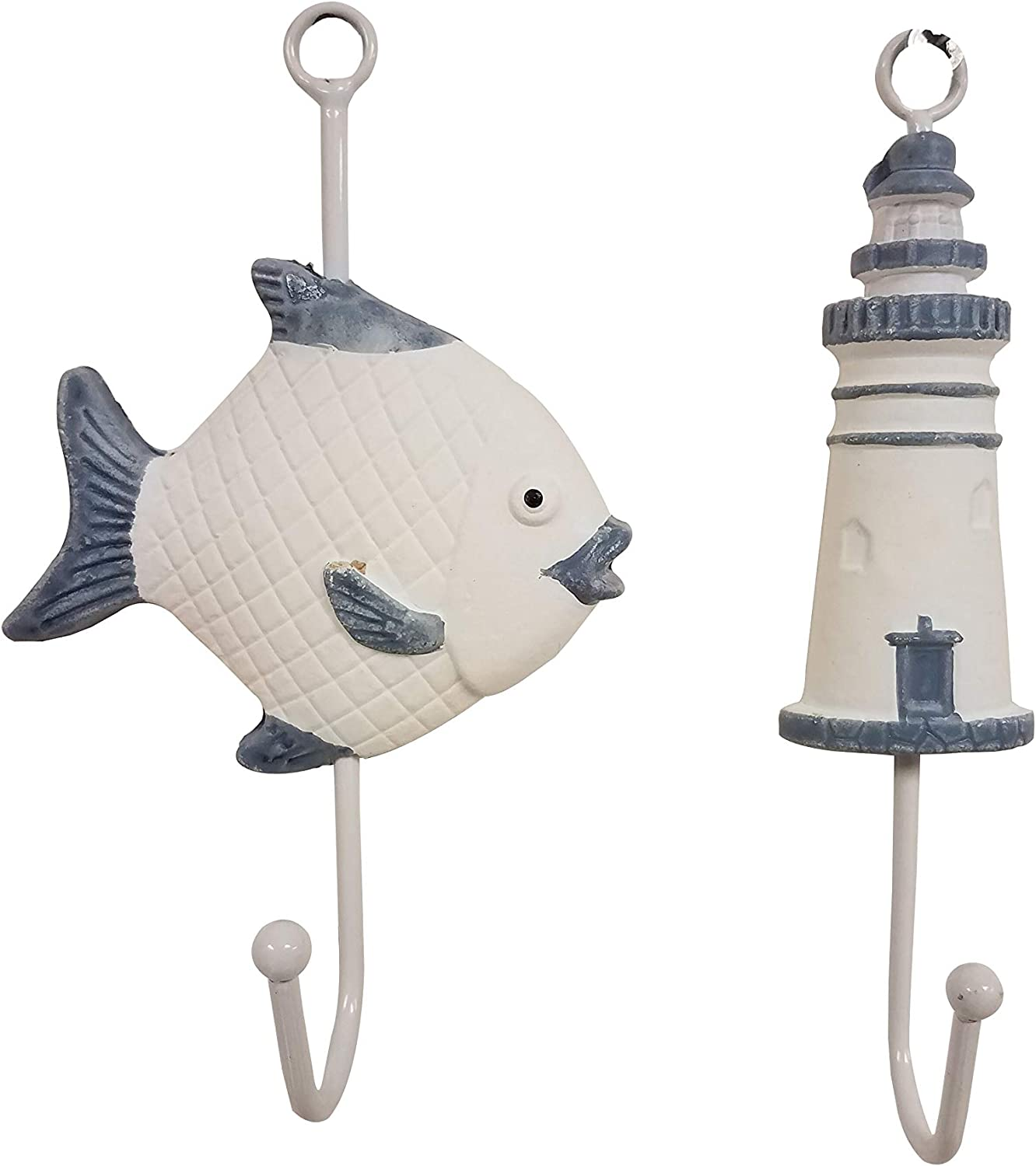 Awesome Set of (2) Fish & Lighthouse Nautical Wall Decor Hangers!