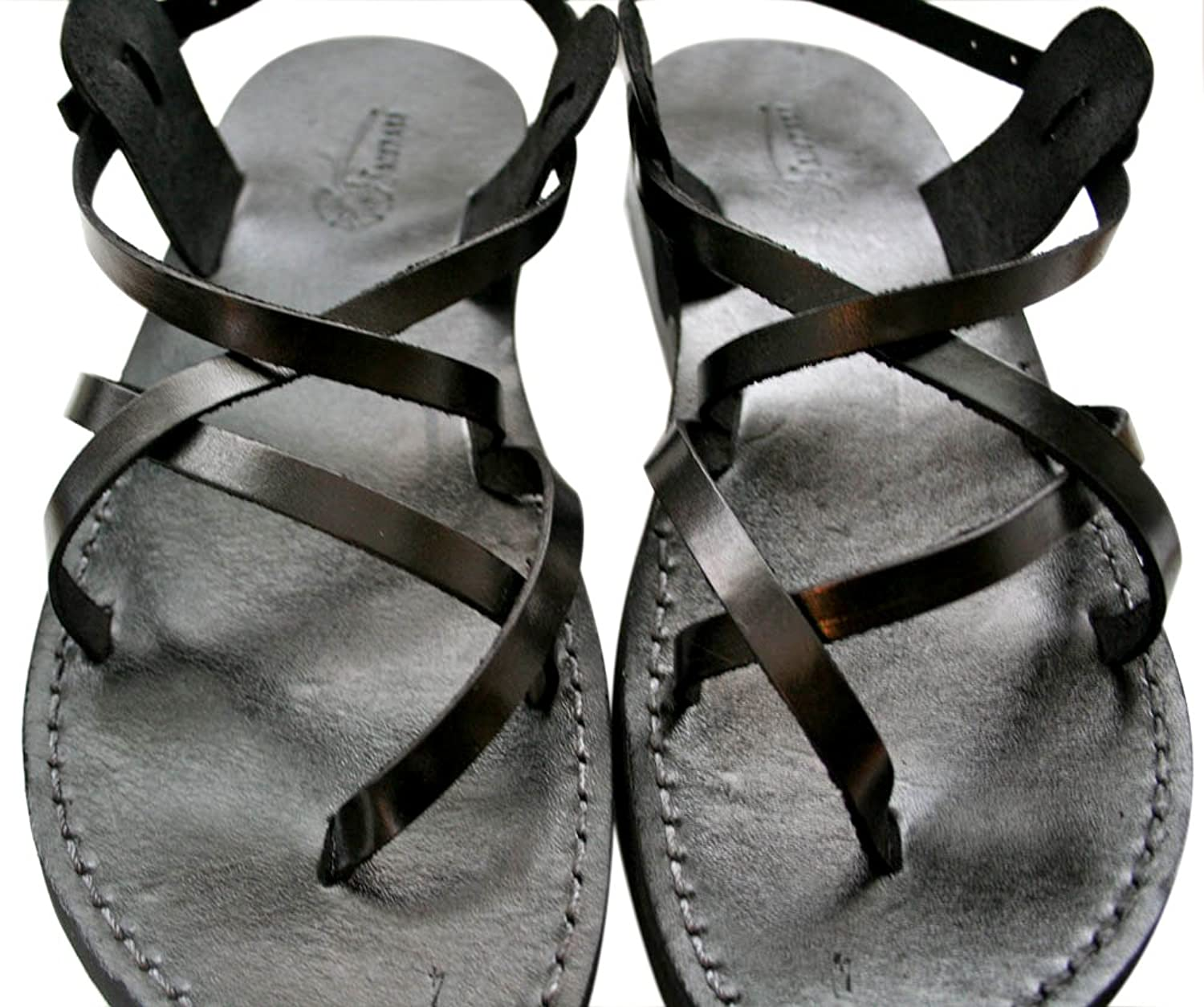 Black Triple Unisex Leather Sandals / Genuine Handmade Leather Holy Land Biblical Jesus Sandals
