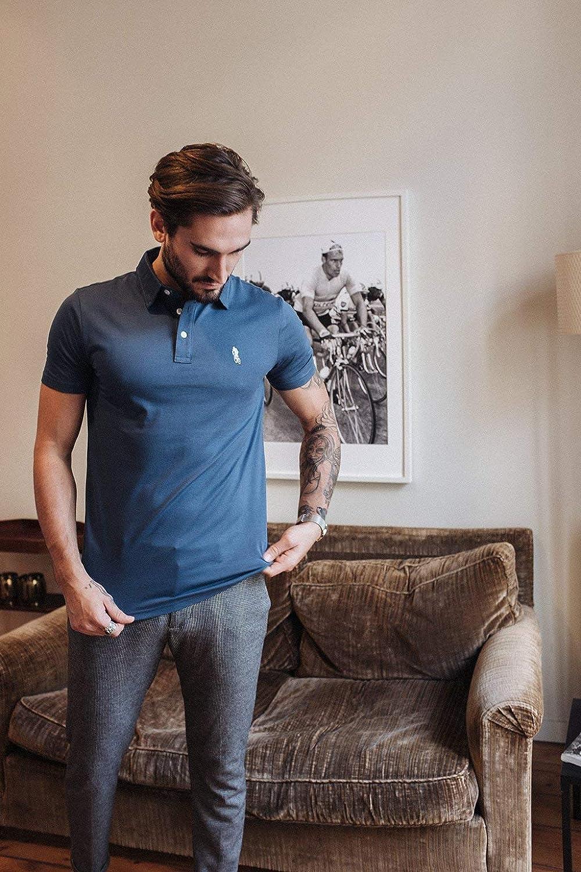 Polo Lifestyle Cyclisme Polo EMBL/ÈME Bleu P/ÉTROLE v/êtement Lifestyle v/élo