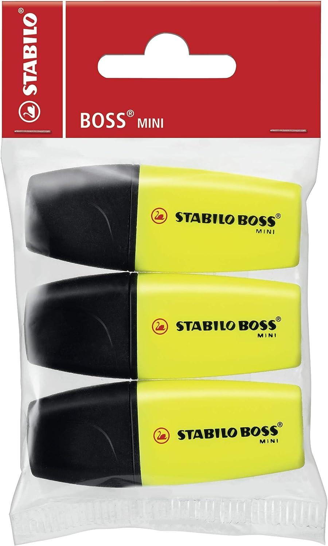 Stabilo Boss Mini Amarillo 3pieza(s) - Marcador (Amarillo, Negro, Multi, De plástico, 2 mm, 5 mm, 3 pieza(s)): Amazon.es: Oficina y papelería